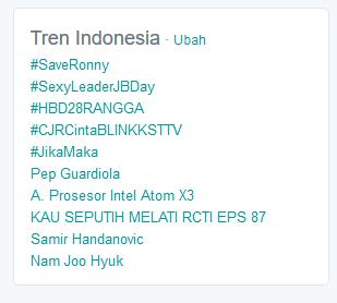 Tagar #SaveRonny sempat menjadi Trending Topic Indonesia pada Selasa Malam (5/1).