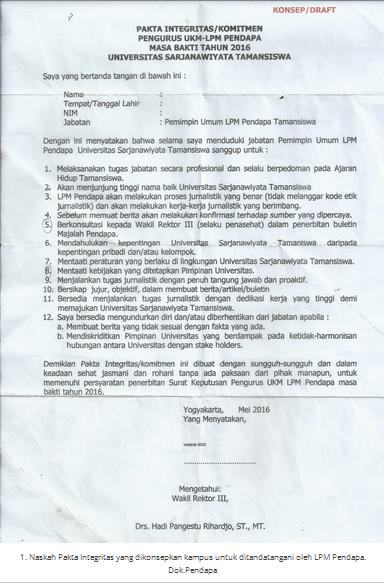 Pakta Integritas dari WR III yang tidak ditandatangani karena mengintervensi LPM Pendapa